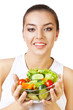 healthy woman and salad in hands