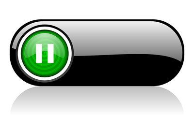 pause black and green web icon on white background