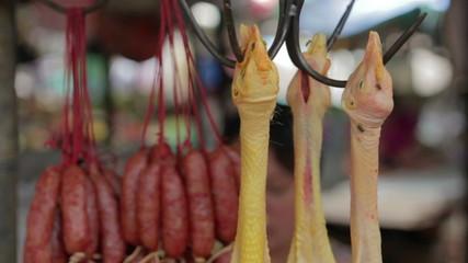 asian market, butcher hang duck