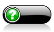 question mark black and green web icon on white background