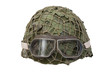 camouflage military helmet with goggles