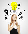 women with question mark and lightbulb