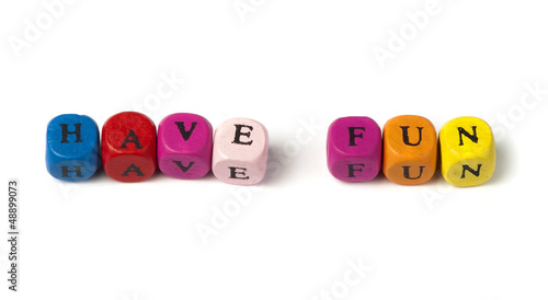 Words have fun on multicolored wooden cubes