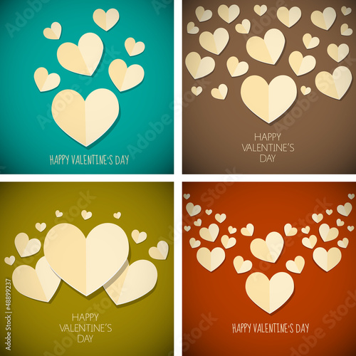 retro vintage happy valentine's day background set