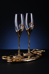 Specila golden glasses for valentine day and for lovers