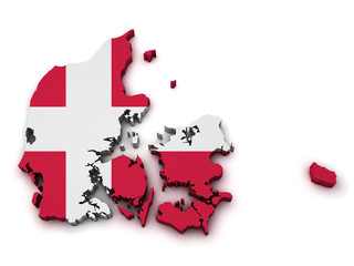 Denmark Flag Map Shape