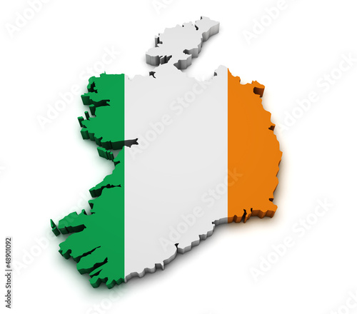 Ireland Flag Map Shape