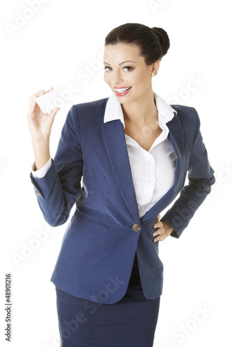 Businesswoman with businesscard.