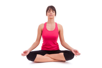 Beautiful caucasian woman in yoga position
