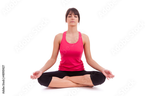 Beautiful caucasian woman in yoga position