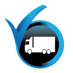 camion sur bouton validé bleu