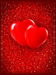 Valentine`s day background. Two red hearts on red background. Ve