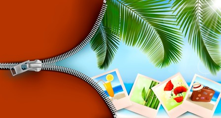 Background with photos from holidays on a seaside. Summer holida