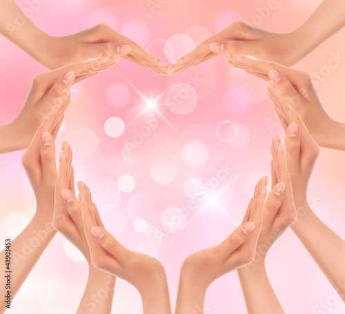 Hands making a heart. Valentine's day background. Vector illustr