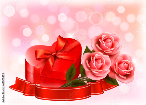Valentine`s day background. Three red roses with red heart-shape