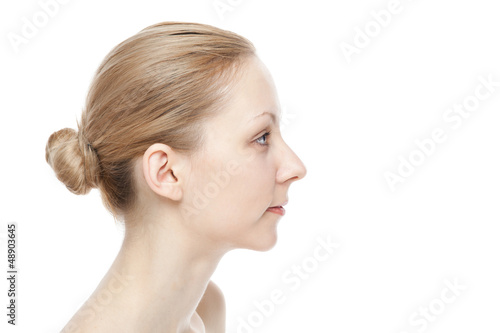 Beautiful caucasian womanon white background