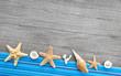 Maritimer Hintergrund in Blau mit Muscheln
