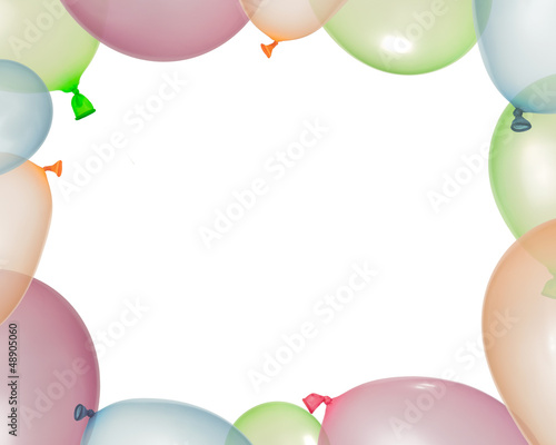 Border of inflated balloons from different colors