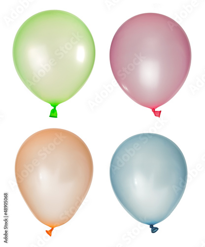 Set of inflated balloons from different colors
