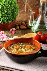 Bean soup in earthenware bowl