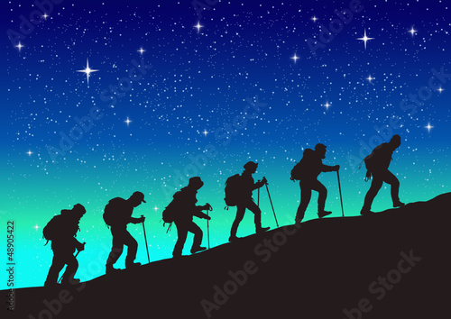 climbing a mountain. vector file
