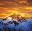 Evening colored view of Everest from Kala Patthar