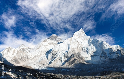 panoramic view of Mount Everest with sky and Khumbu Glacier