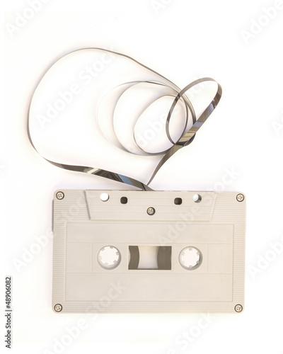 tape cassette on white background