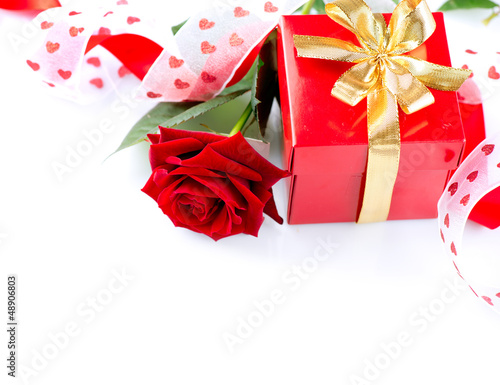 Valentines Hearts, Rose Flower and Gift Box isolated on white