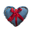 Valentine jeans heart with red holiday ribbon. Isolated on white
