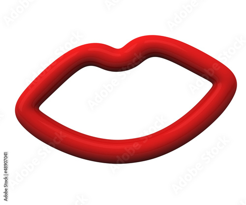 Red lips icon frame, 3d