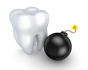 White tooth and stylized bomb.