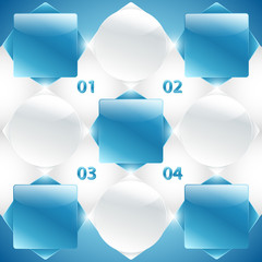Abstract blue and white banners with numbers. Vector