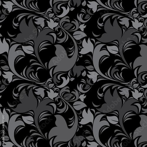 Floral vintage dark gray background. Black color.