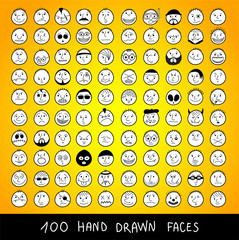 Huge set of hand drawn funny cartoon faces.