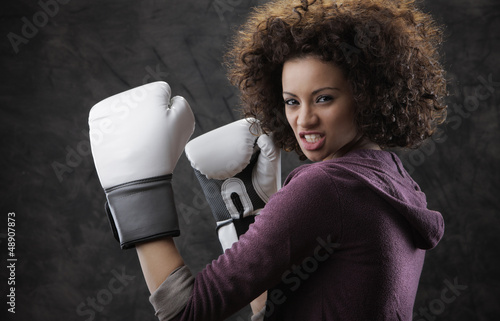 boxing woman ready to fight