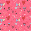 Retro romantic seamless pattern with hearts.