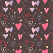 Romantic seamless pattern with hearts.