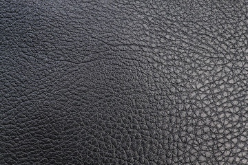 Black textured leather for textile sewing. Close-up.