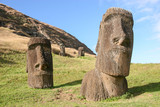 Several moai at Rano Raraku quarry on Easter Island