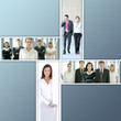 A collage of business images with people in formal clothes