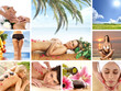 A collage of spa images with lovely women and nature