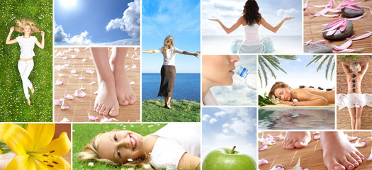A collage of healthy life images with young and sexy women