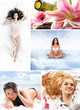 A collage of images with lovely women meditating and relaxing