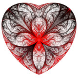 Red heart fractal on white background. Computer generated graphi poster