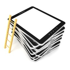black tablet PC stack with wooden ladder