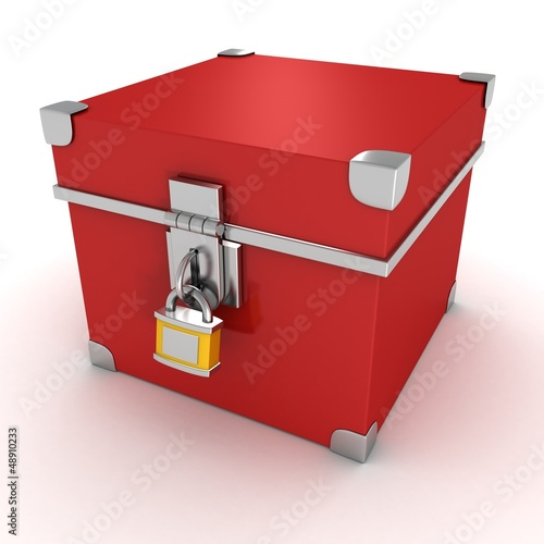 red vintage box with yellow padlock