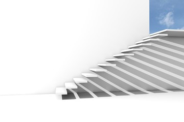 Render of a stairway to the blue sky