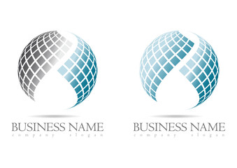 Business logo 3D blue sphere design