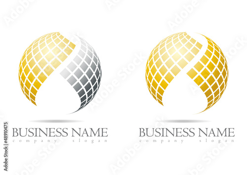 Business logo 3D gold sphere design